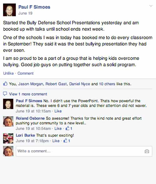 Bully Defense Curiculum Facebook Questions