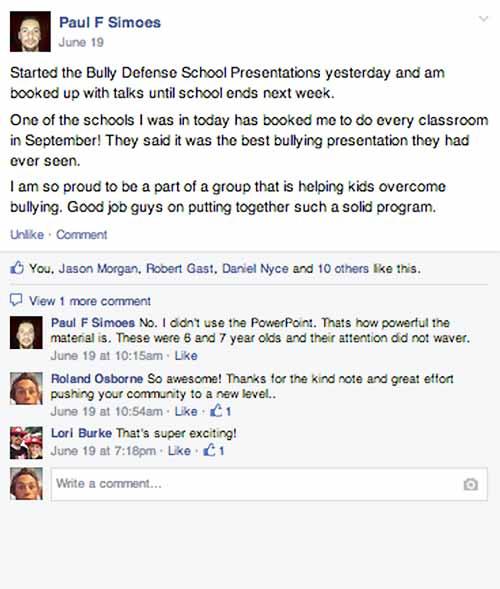 Bully Defense Curiculum Facebook Questions